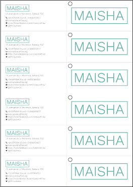 Print ready spread of Maisha labels