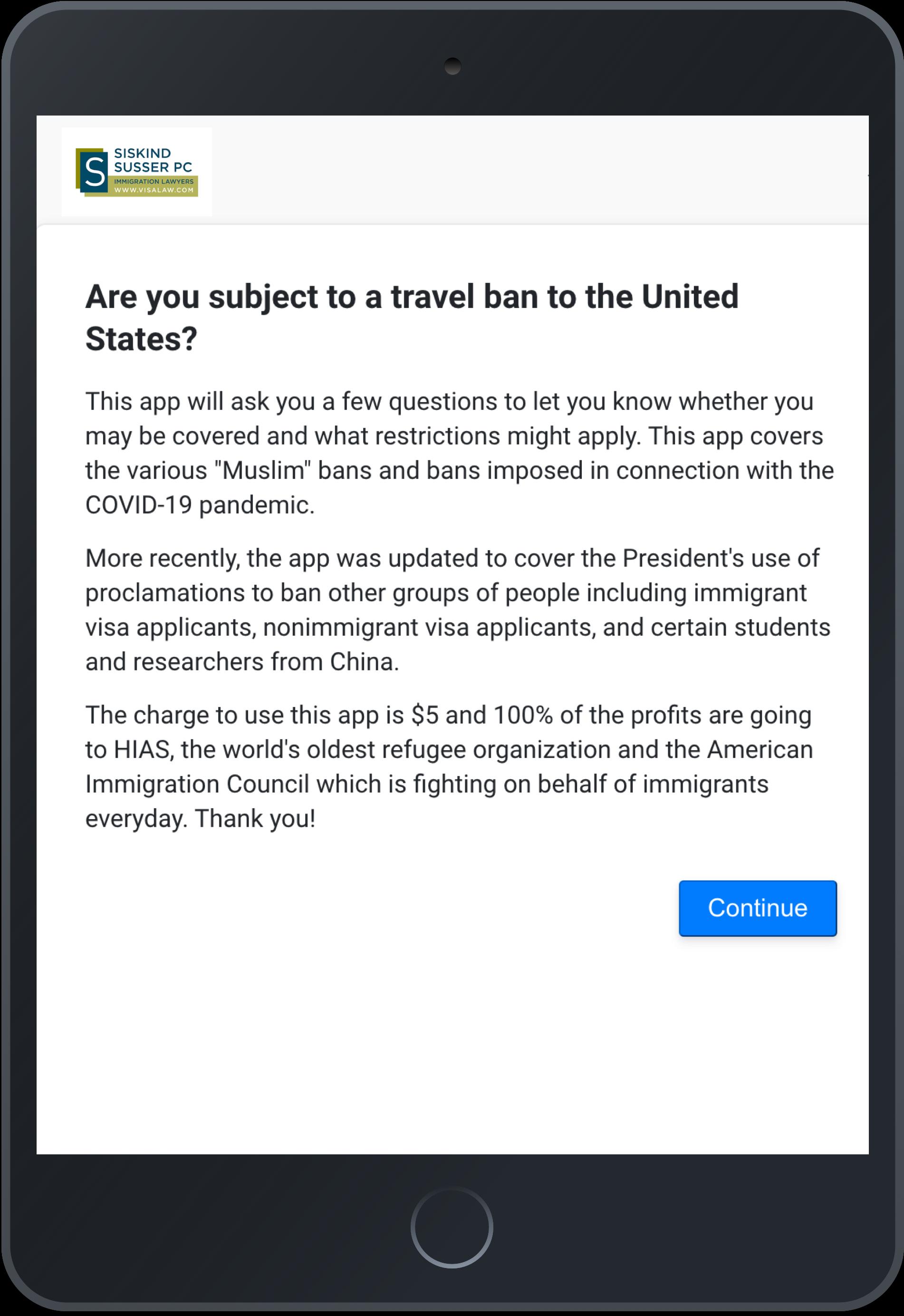 Screenshot of Travel Ban Advisor app