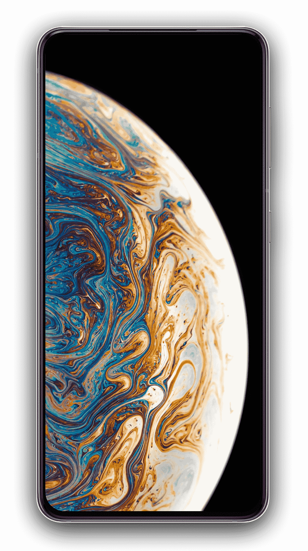 iPhone with swirling colored planet