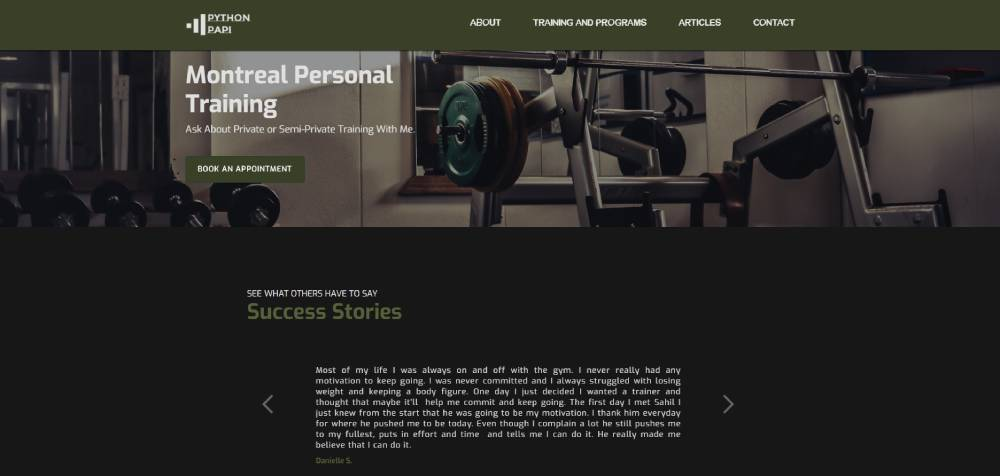 A screenshot of the Python Papi website.