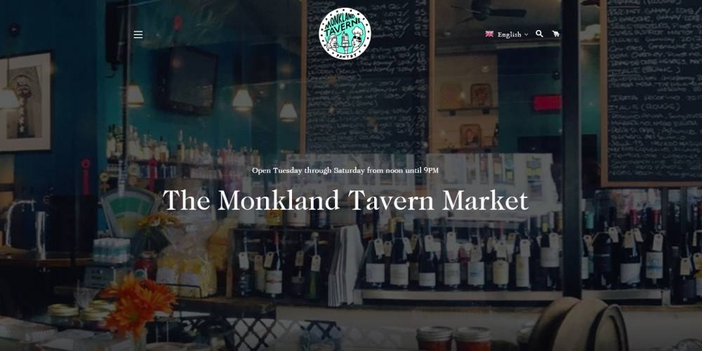A screenshot of the Monkland Tavern homepage.