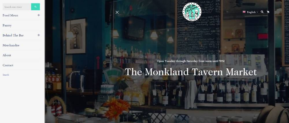 A screenshot of the Monkland Tavern website.