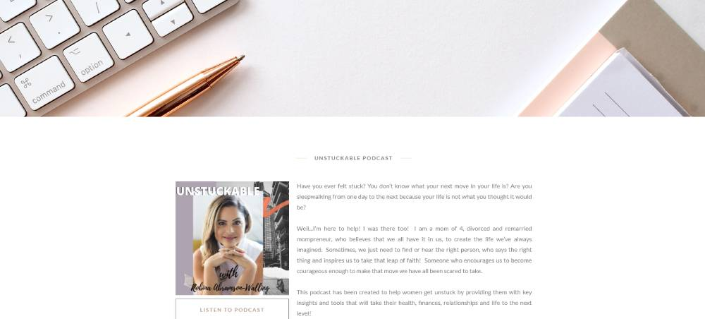 A screenshot of the Unstuckables website.