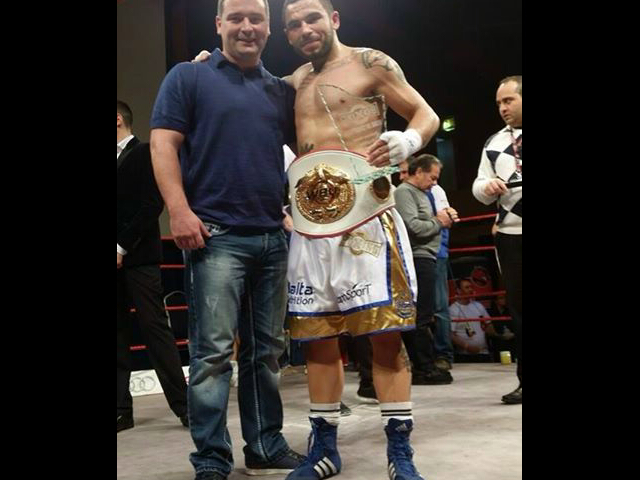 Promoter, manager and trainer Stephen Vaughan with boxer Steve Martin.