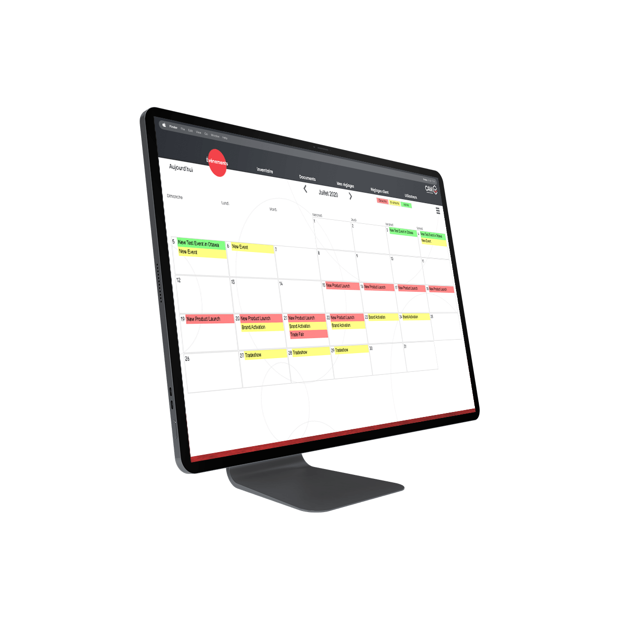 Monitor mockup of CAM an online asset management tool made by accordex