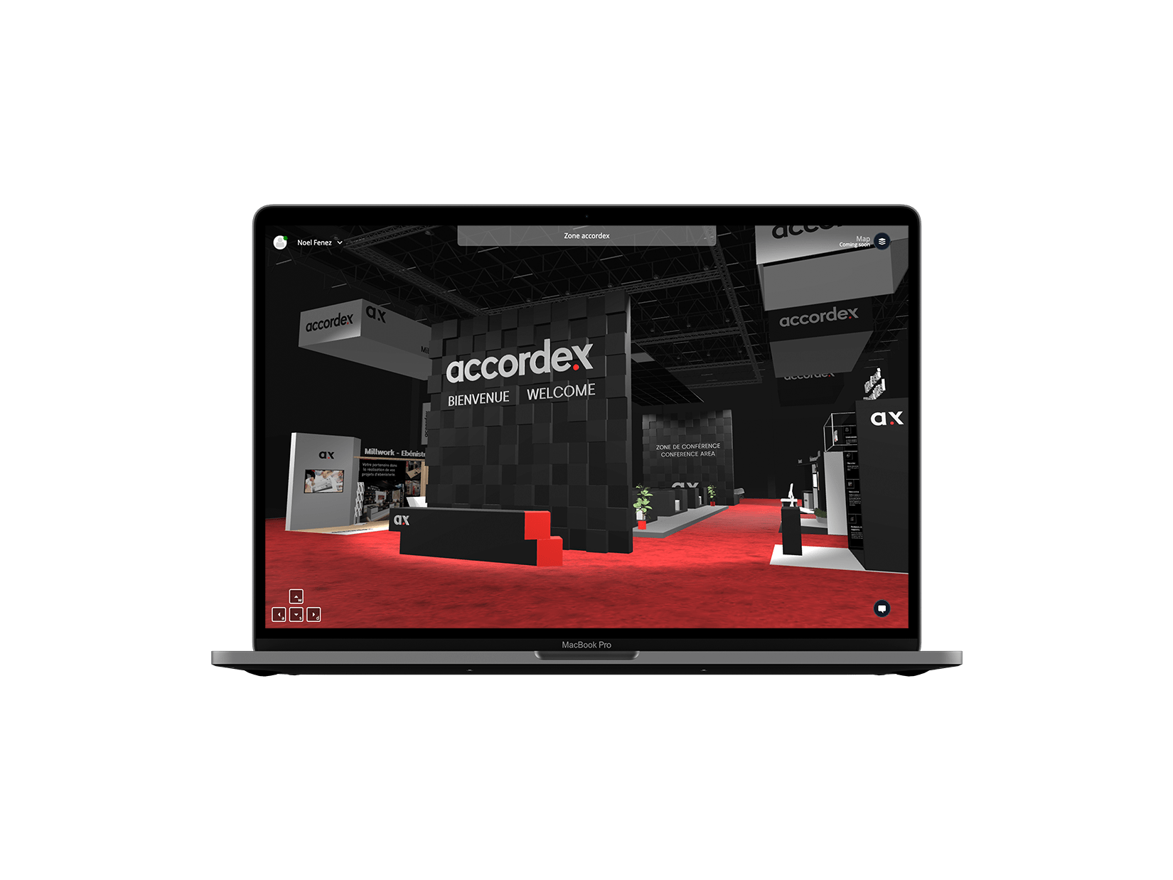 Laptop mockup showing virtual event application by accordex