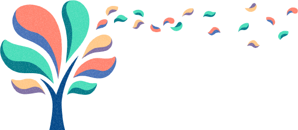 Logo of an illustrated multi-coloured tree with blossoming petals.