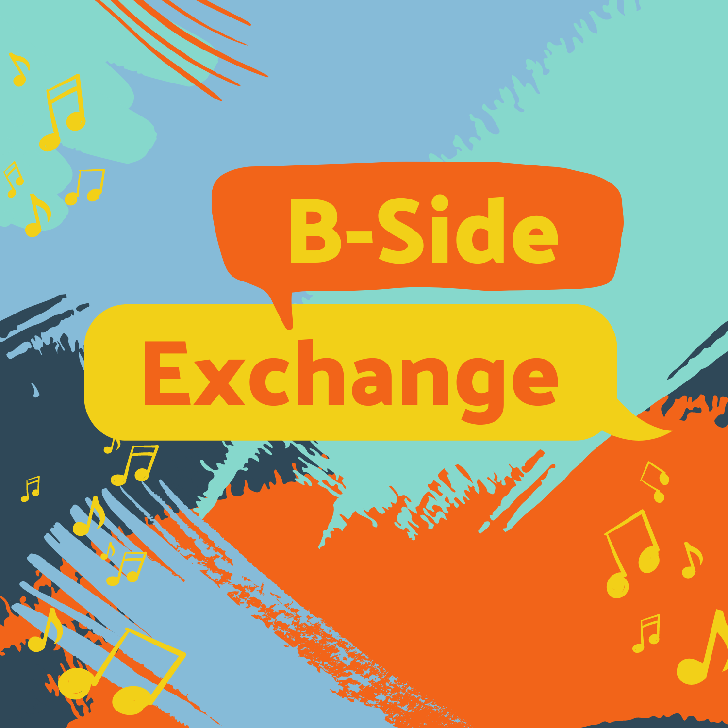 B-Side Exchange Logo with musical notes, color, and chat bubbles