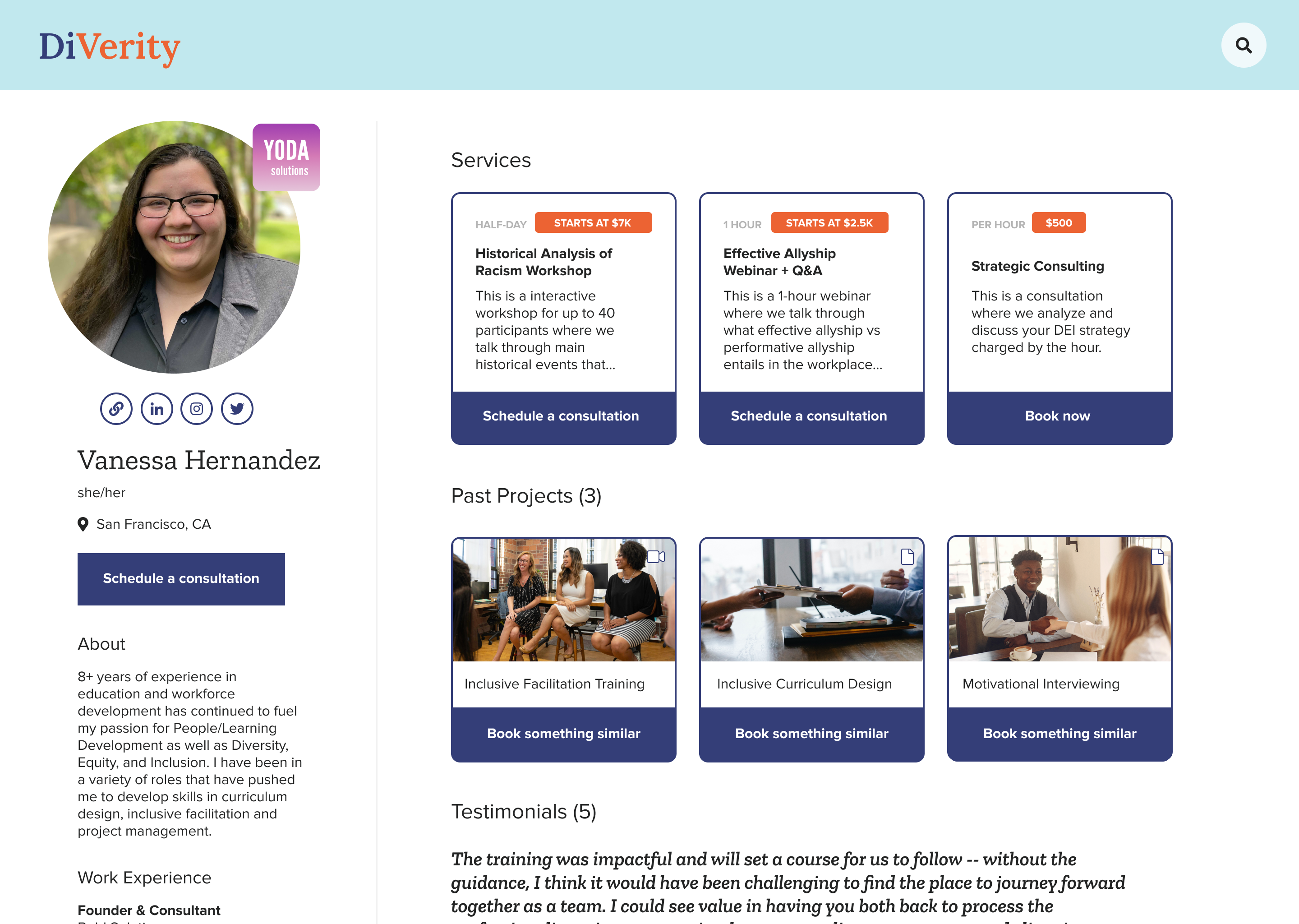 An image of a profile page showing services, past projects, and testimonials