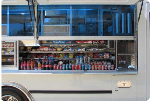 Service window of the On The Go LA food truck