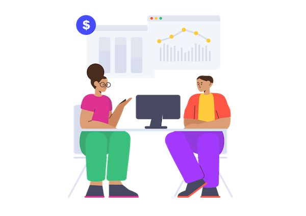 Icon showing employees discussing data analytics