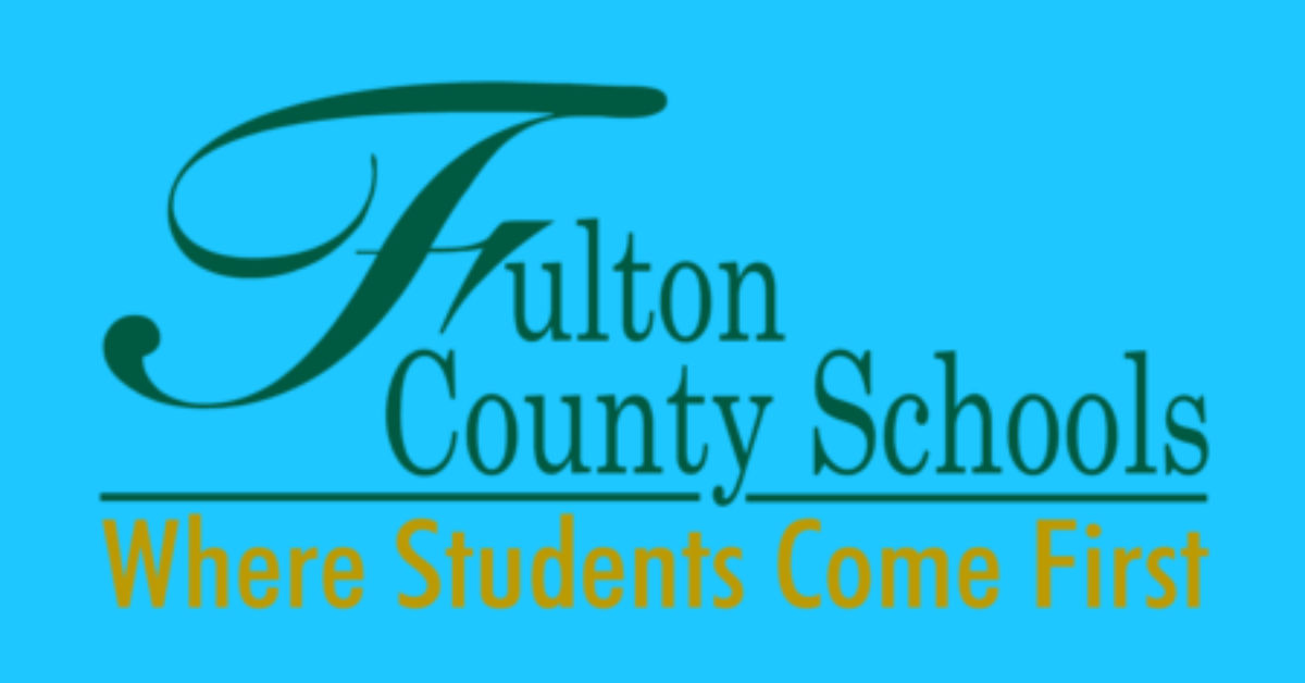 Fulton County Schools green and yellow logo says where students come first.