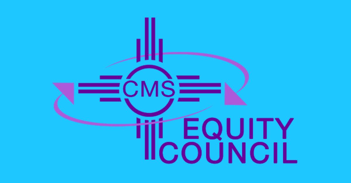 Purple Clovis Municipal Schools Equity Council logo has the New Mexican flag symbol.