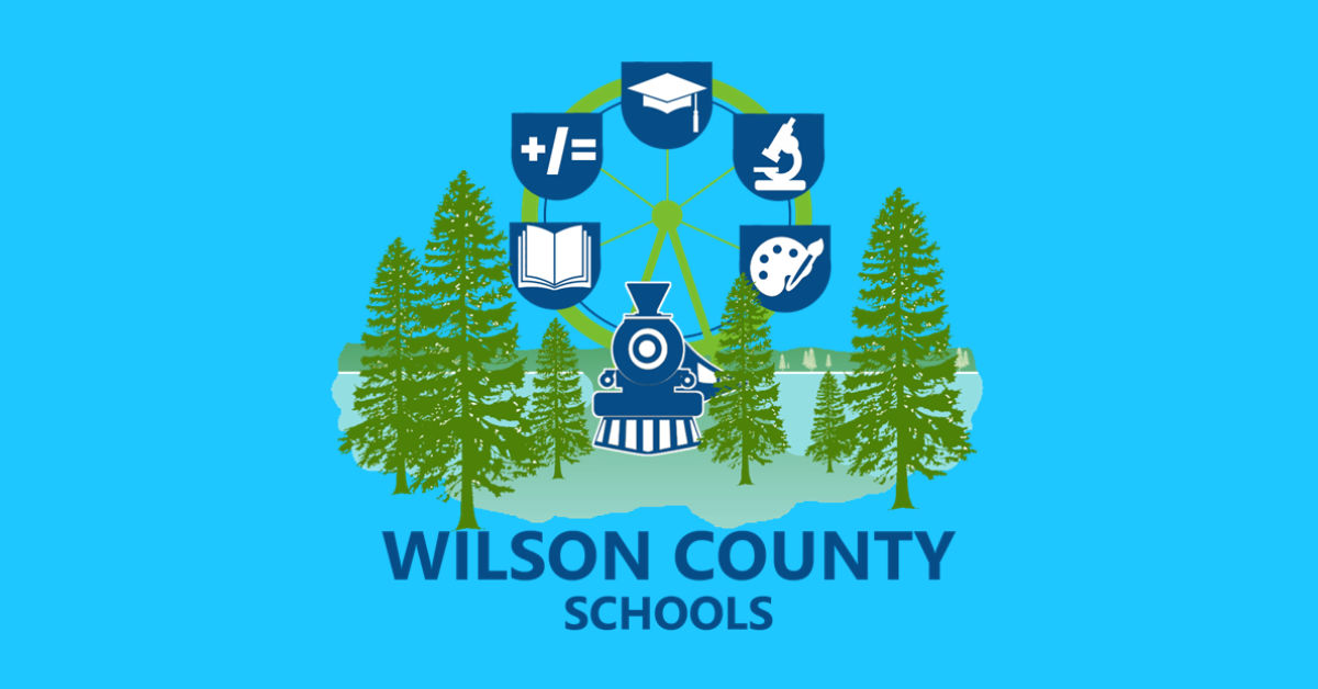 Wilson County Schools logo with a ferris wheel, blue train and a green forest.