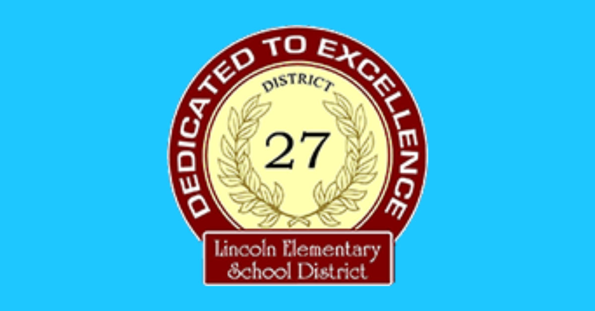 Lincoln Elementary School District red and yellow logo says it is dedicated to excellence.