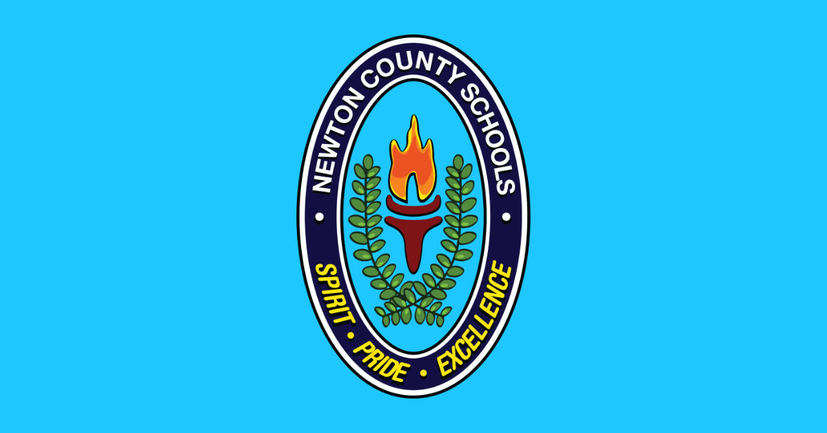 Newton County Schools logo has a flaming torch and a wreath of leaves toting spirit, pride and excellence.