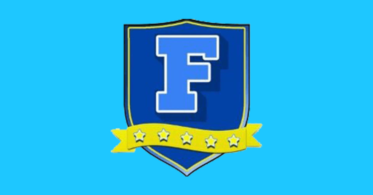 A blue F on a blue shield with five gold stars
