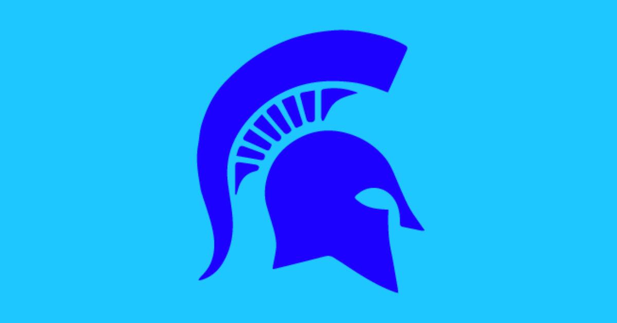 Richmond Heights High School logo Blue spartan helmet profile on a blue background.