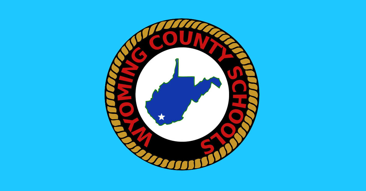 Wyoming County Schools logo has a rope wrapped around the state with the capitol starred.