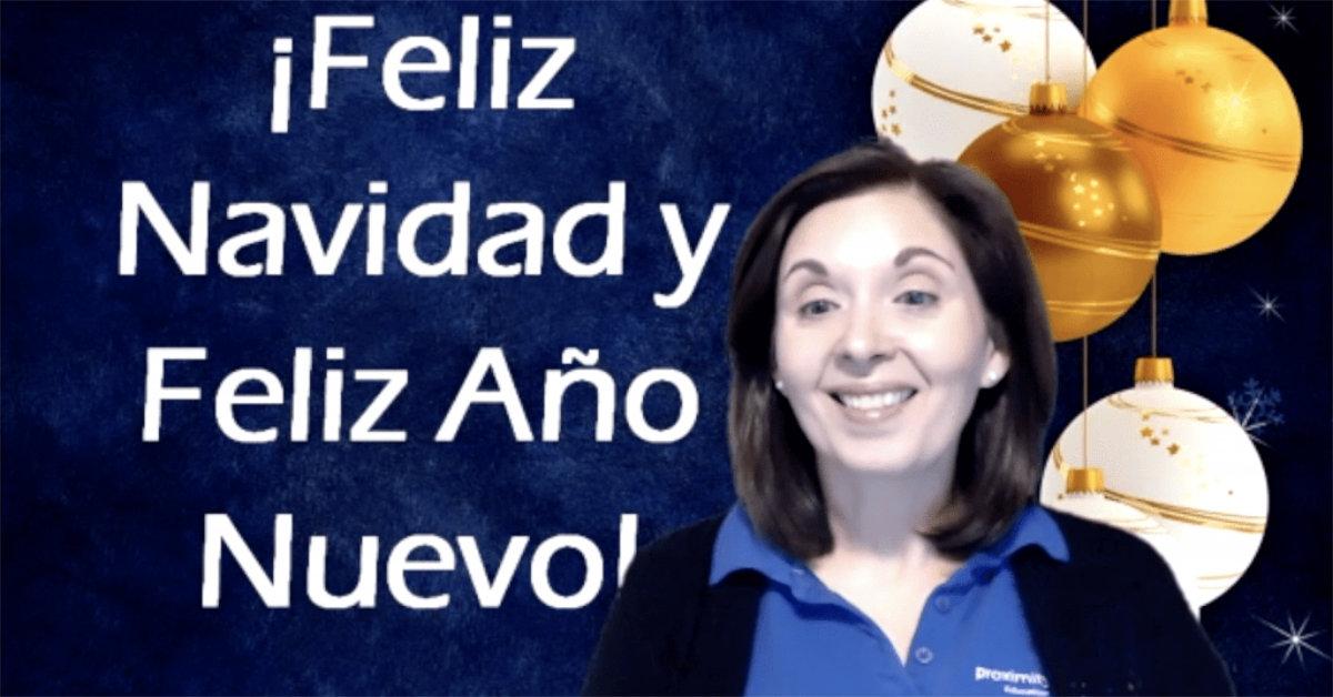 Virtual Spanish teacher wishes students Feliz Navidad y Feliz Año Nuevo!