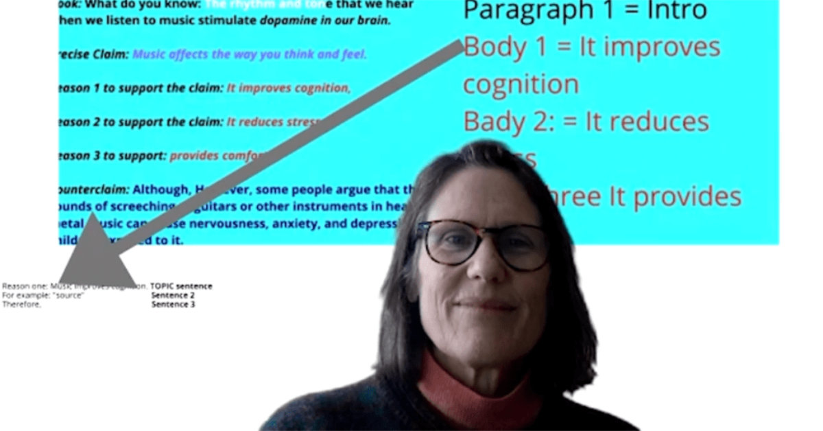 An English teacher explains how to format a paragraph in synchronous online learning.