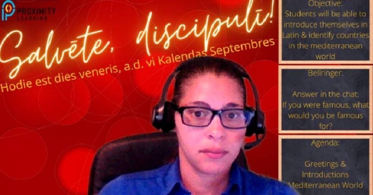Livestream virtual teacher Chelisa Elmore teaching online live instruction.