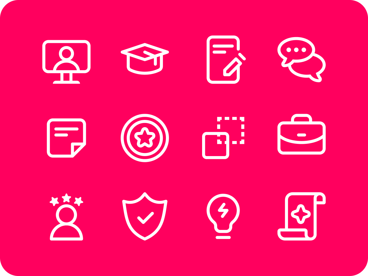 White iconography on a bright pink background
