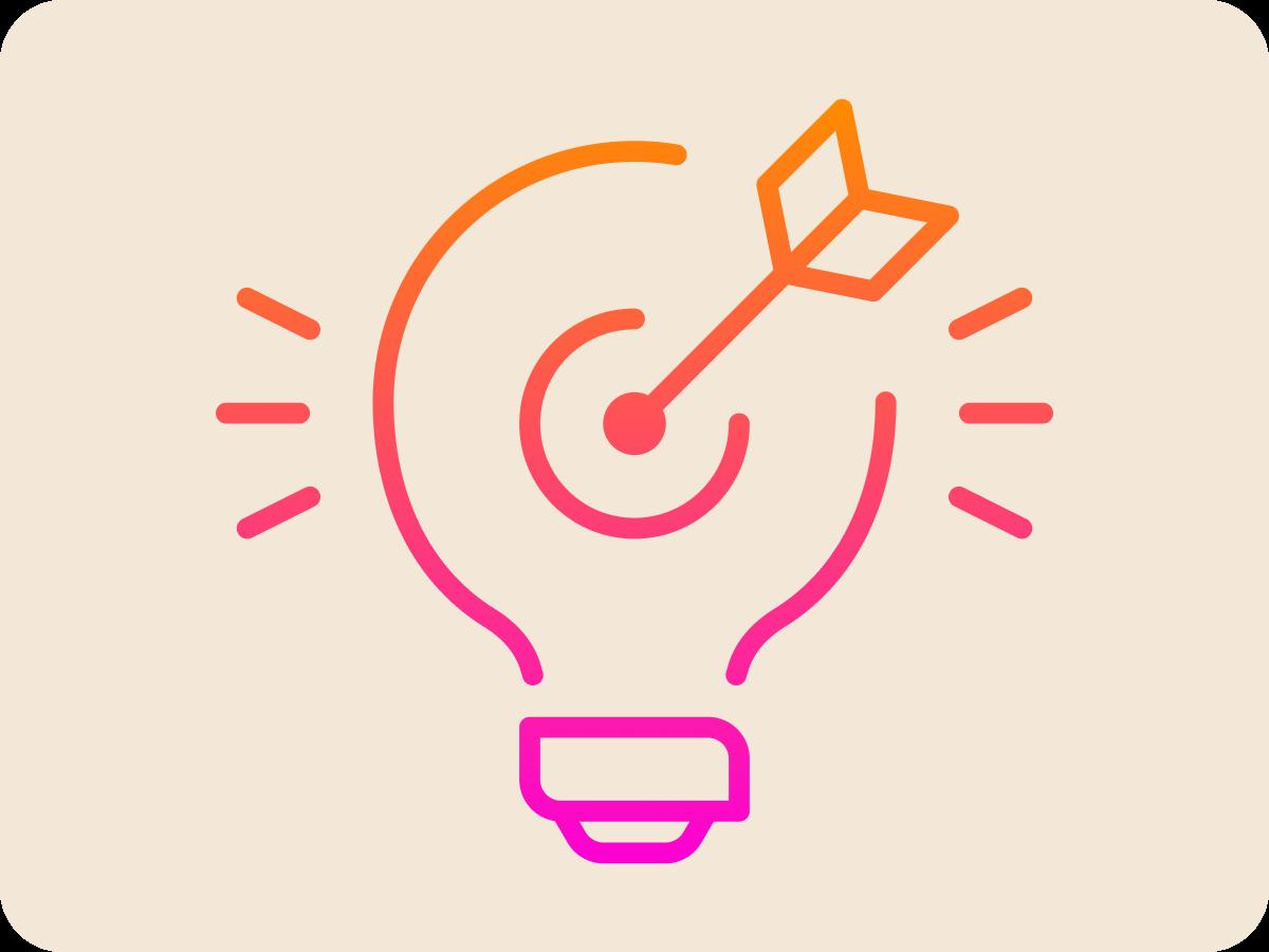 Lightbulb with arrow icon