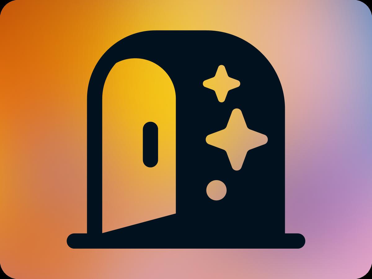 Door icon on multicolor background