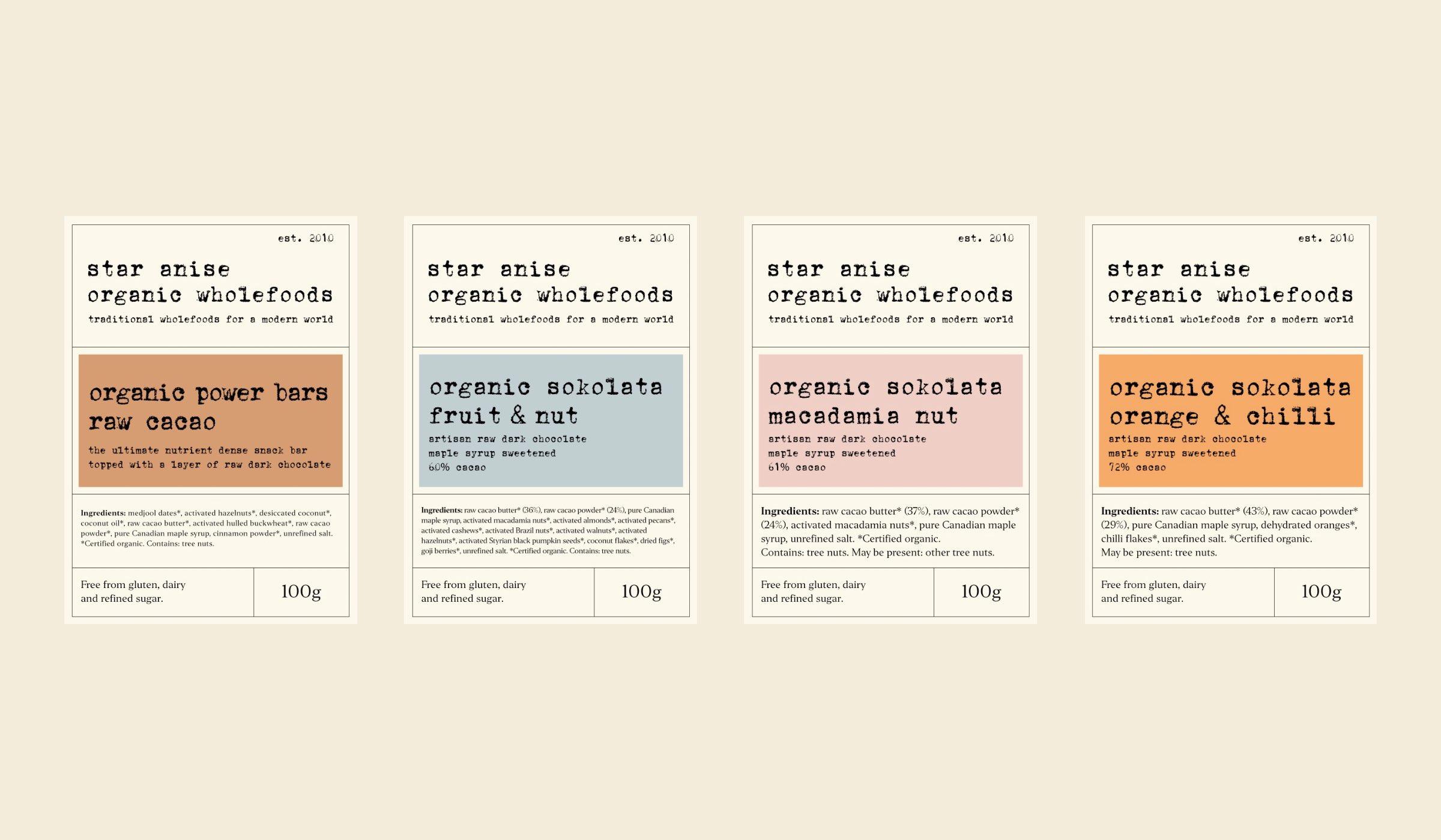 Star Anise Organics label designs