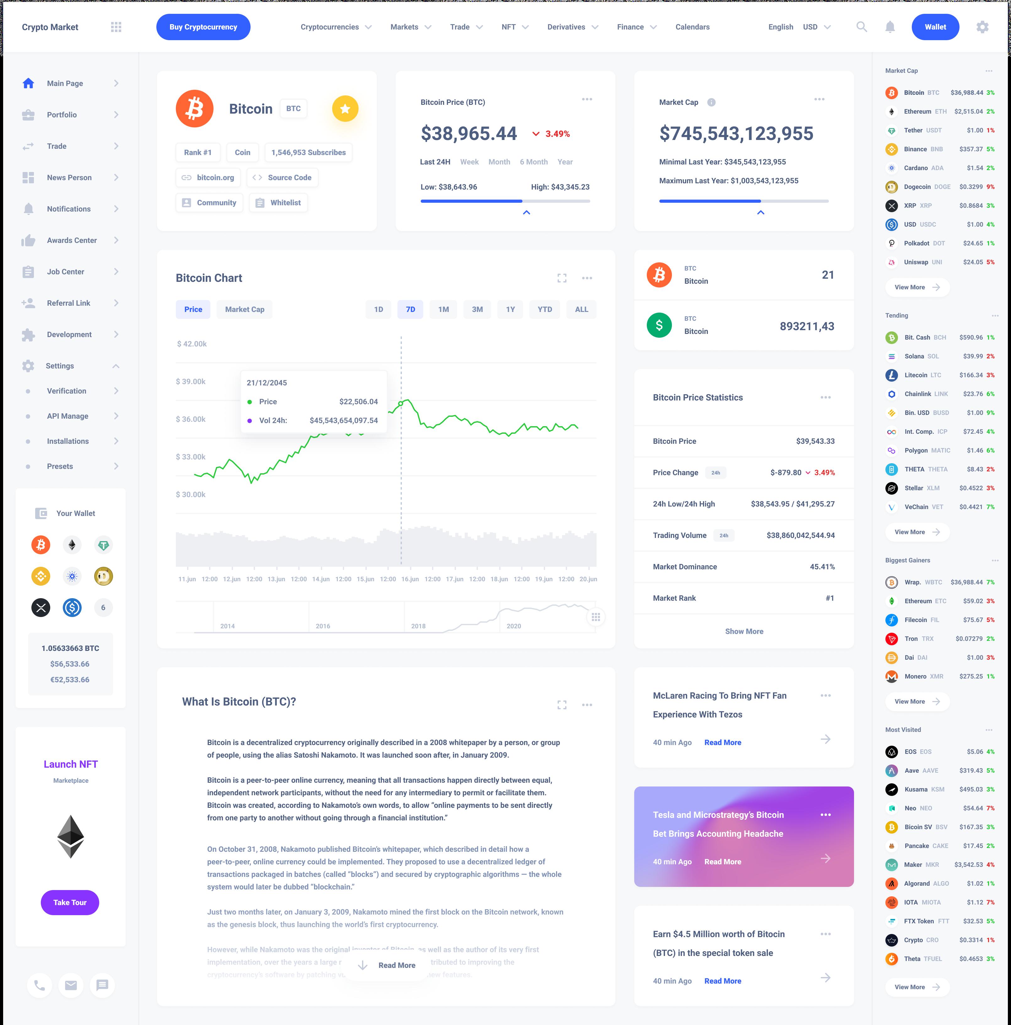 Crypto One Profile Dashboard Template