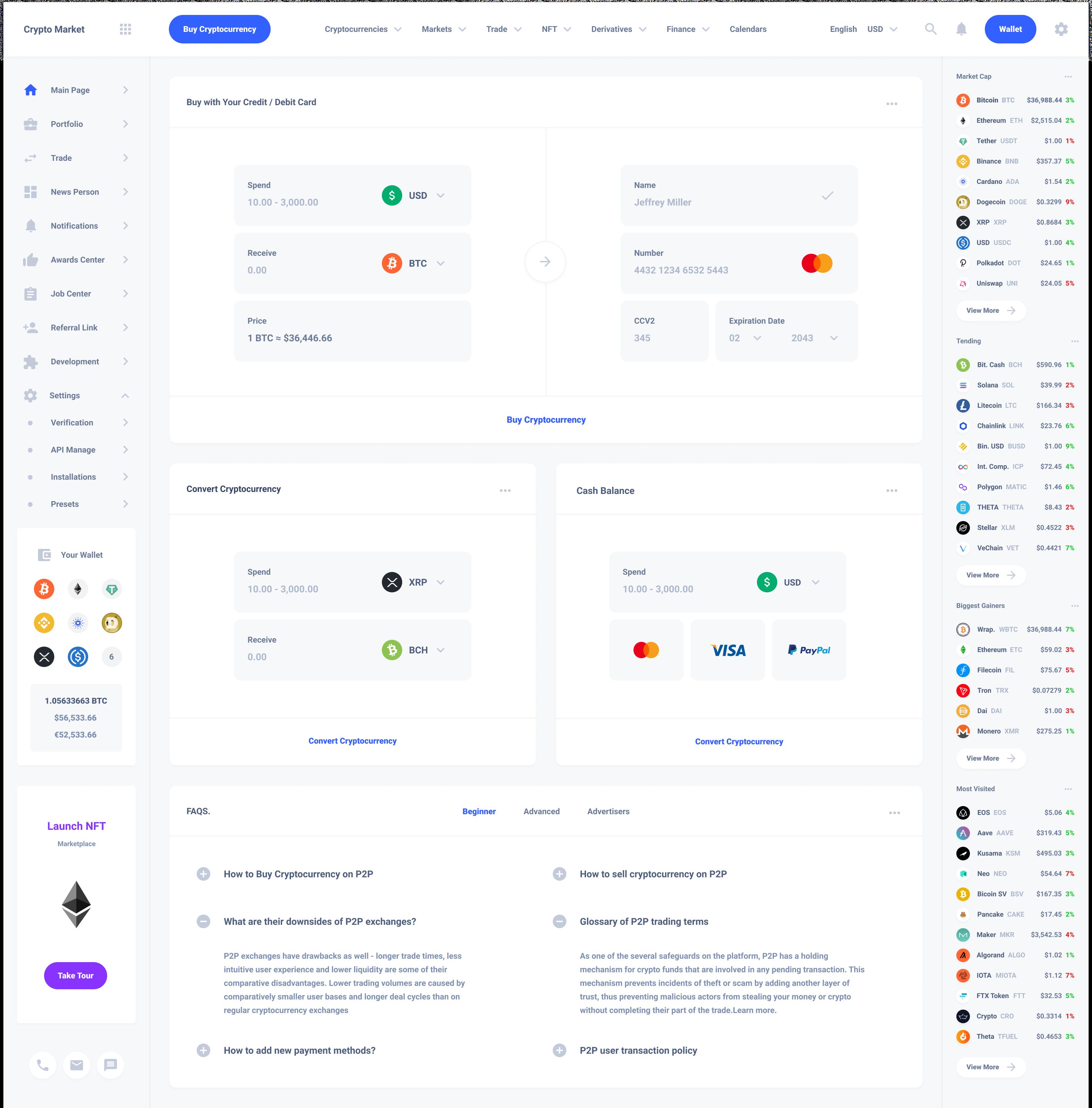 Exchange Cryptocurrencies Dashboard Template