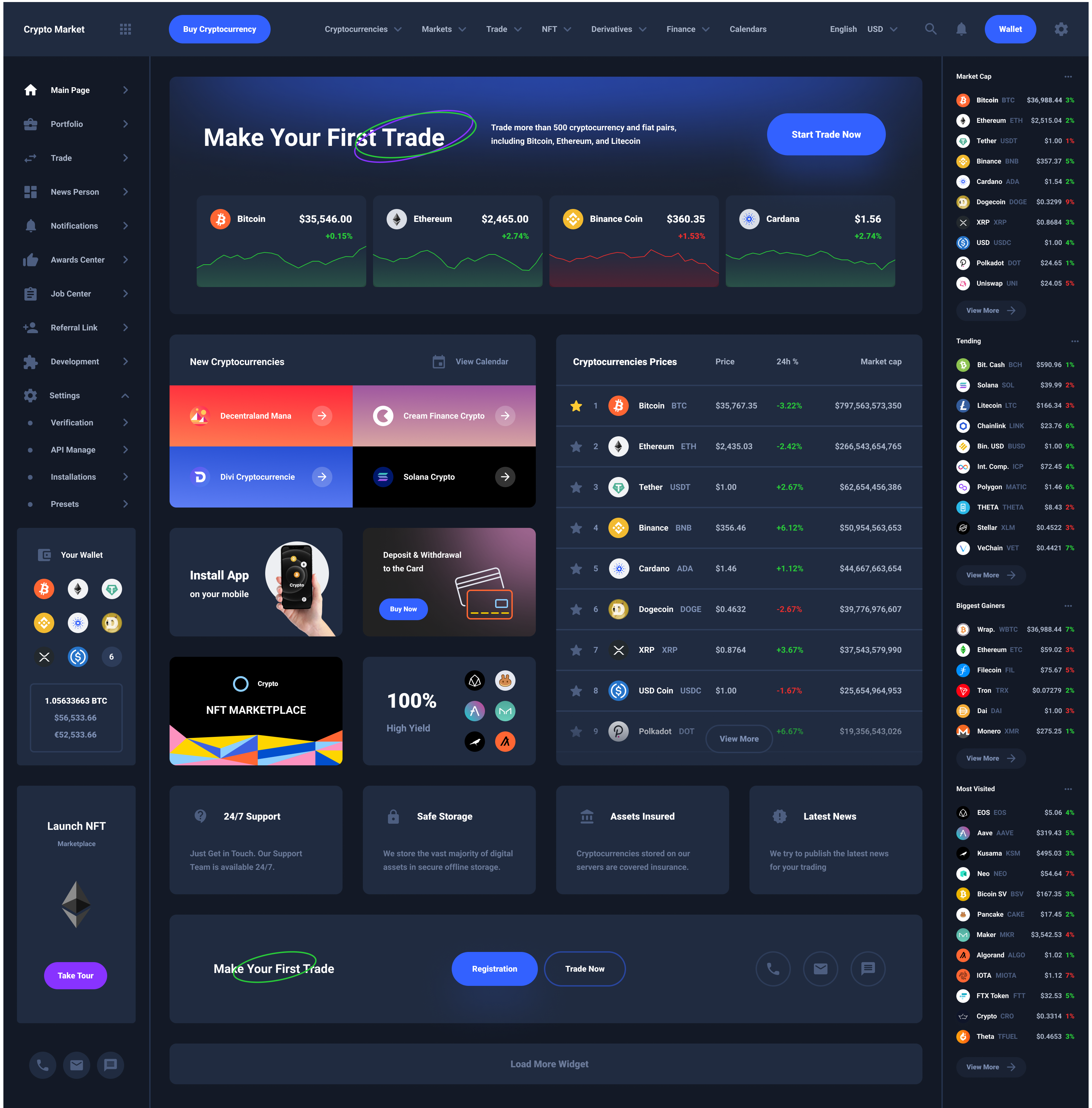 Main Dashboard Cryptocurrency UI Kit
