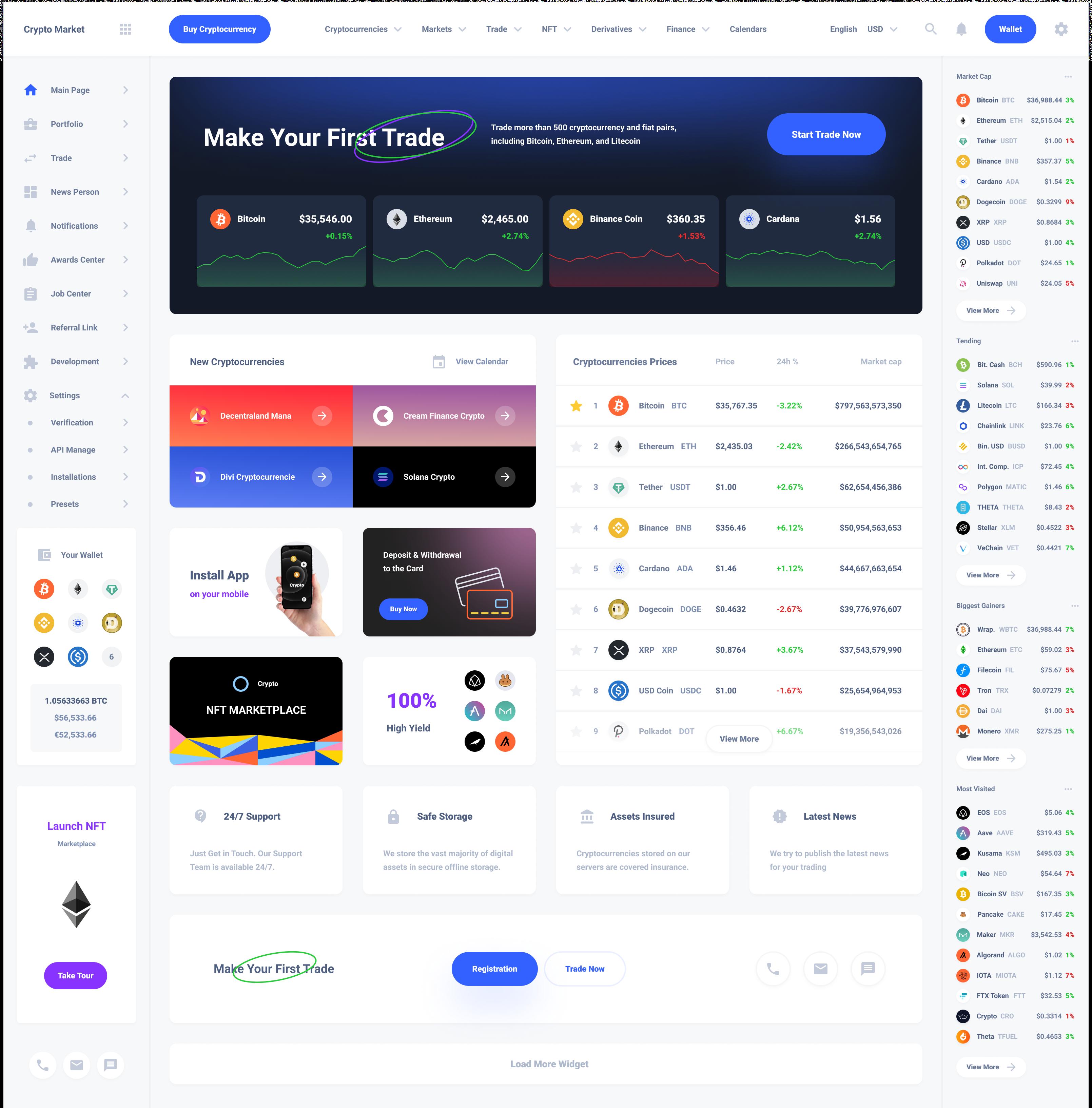 Main Dashboard Cryptocurrency