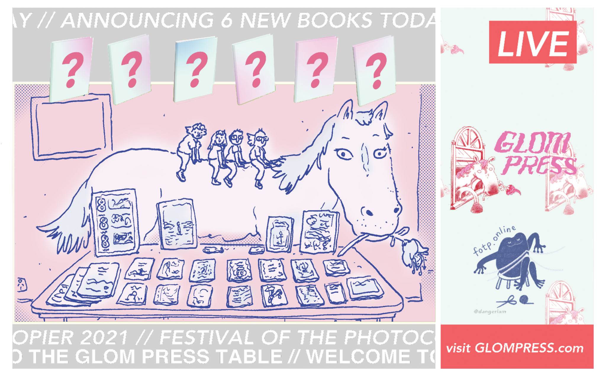 Digital illustration of zinesters sitting on a horse behind a zine table; text reads GLOM PRESS LIVE.