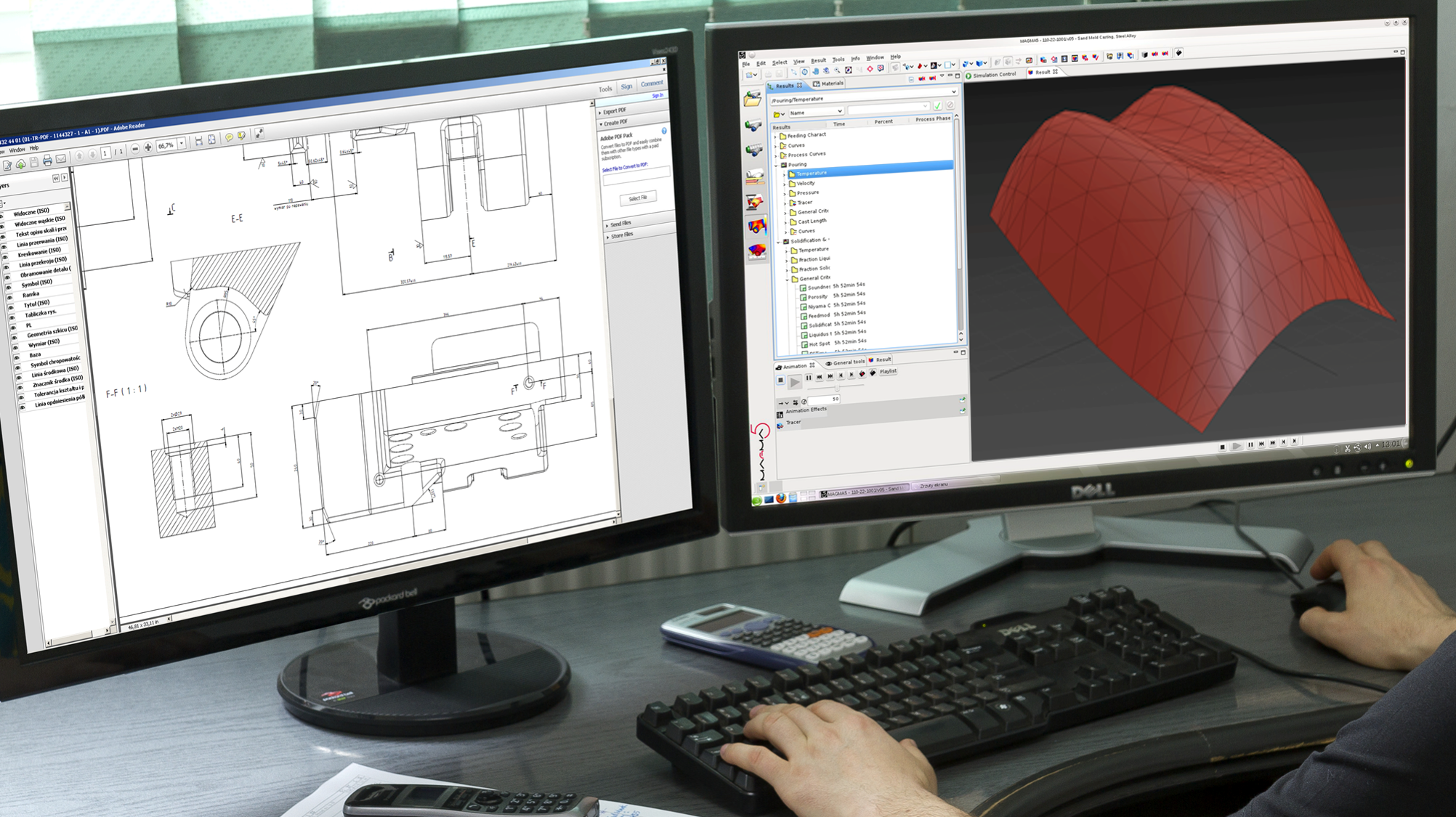 Screens with CAD drawings.
