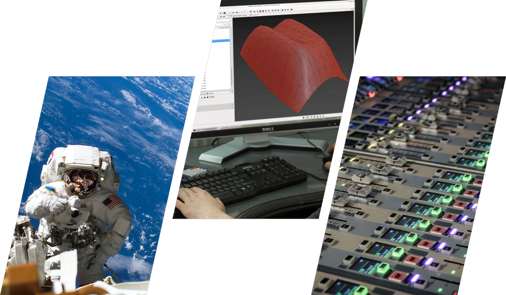 Three images of an astronaut in space, a screen with a cad drawing, and a panel control.