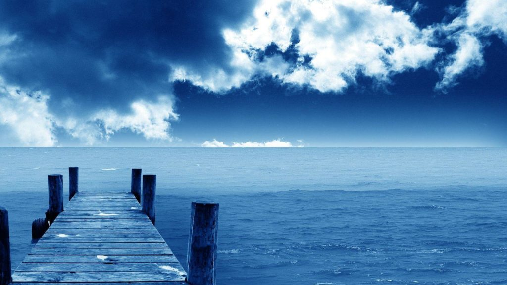 Relaxing boat dock with clouds
