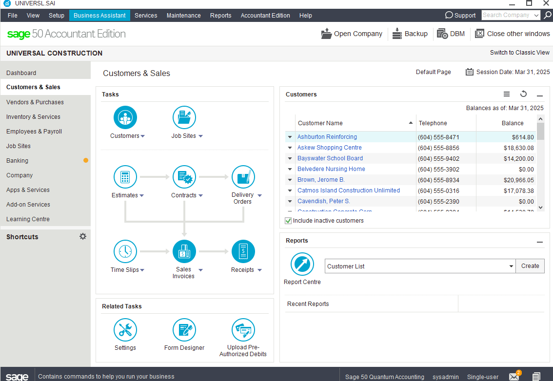 Sage50 Cloud Canada Screenshot