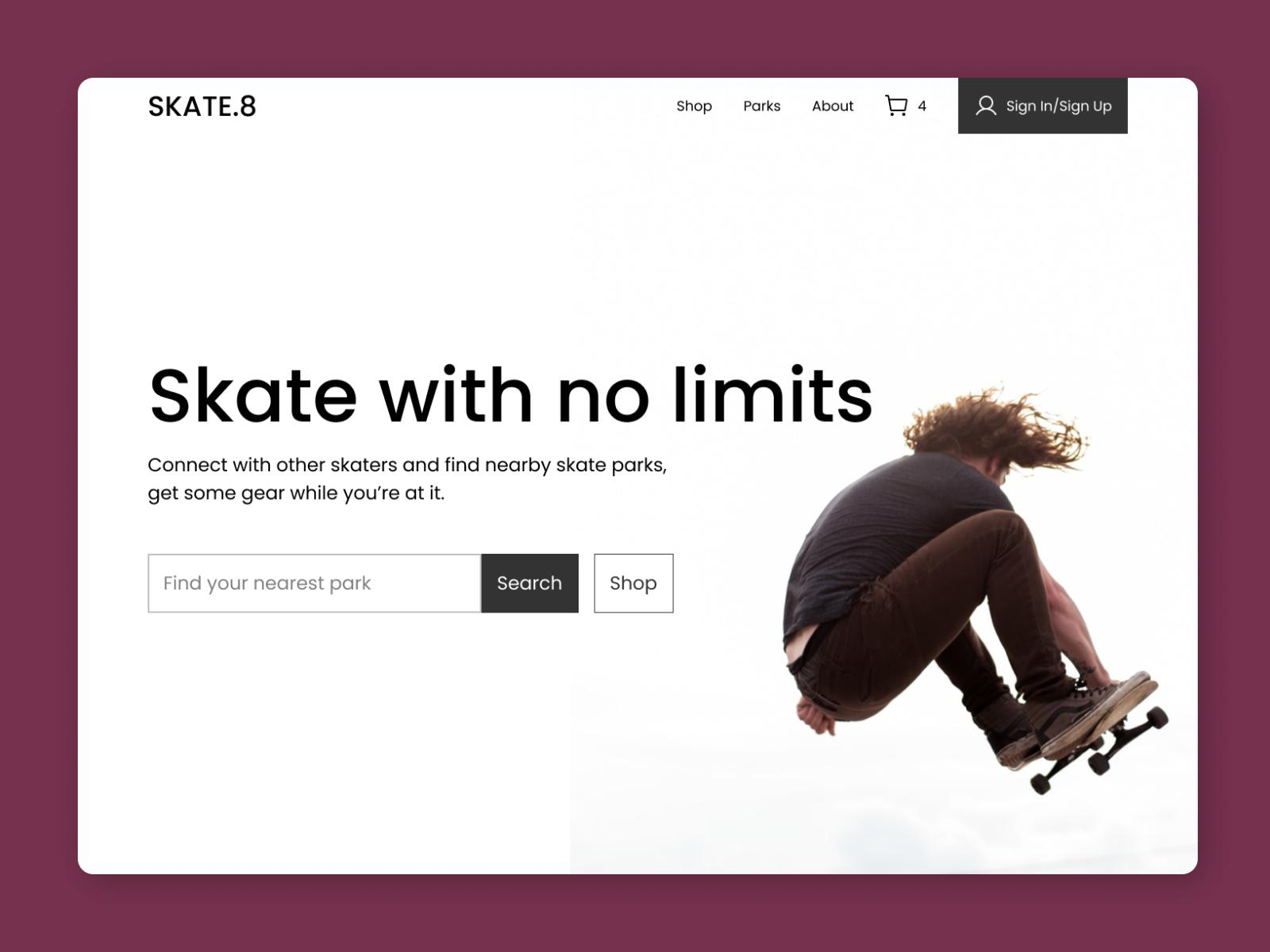 Skate Park Hero Section