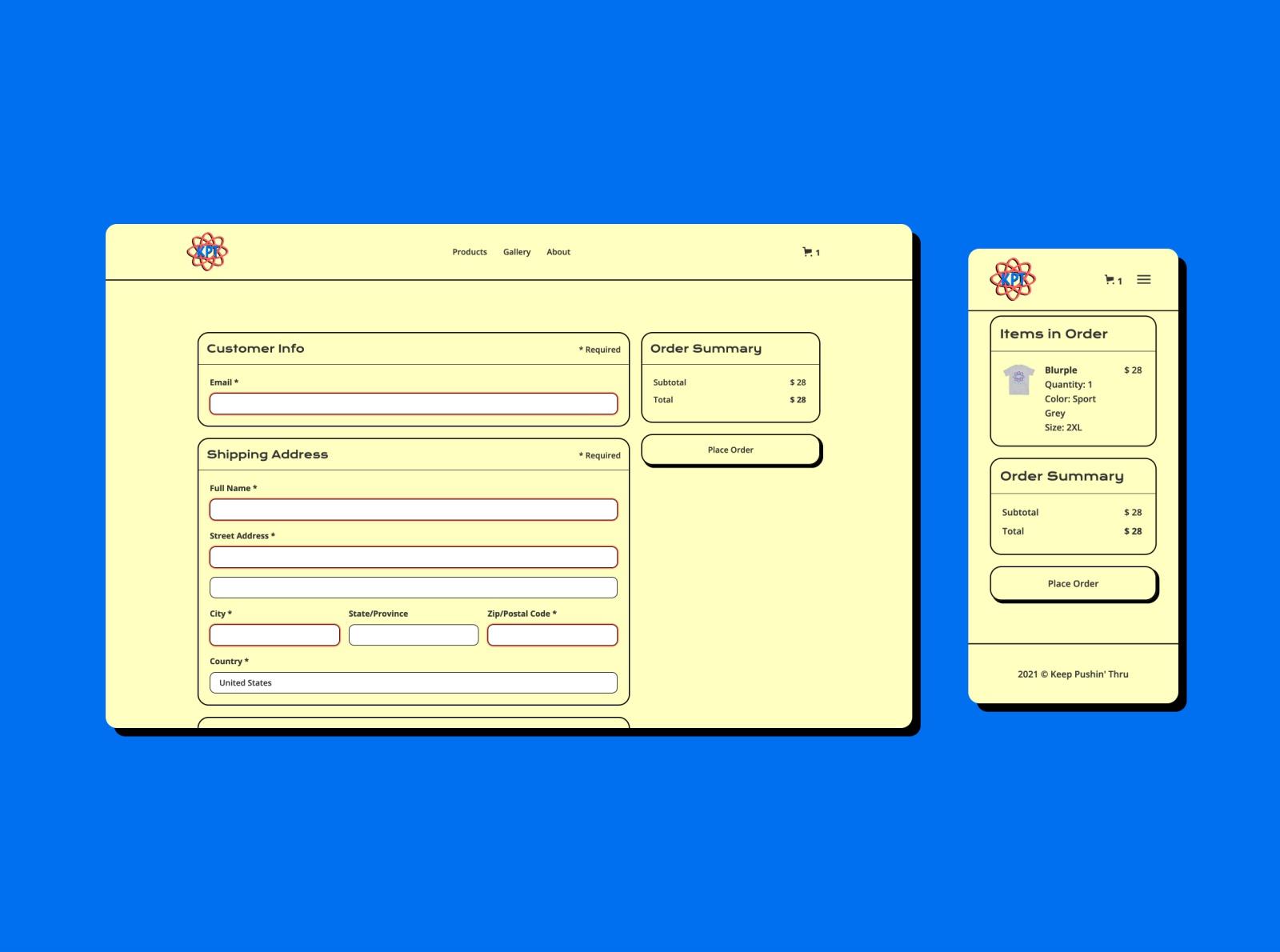 Bold checkout form