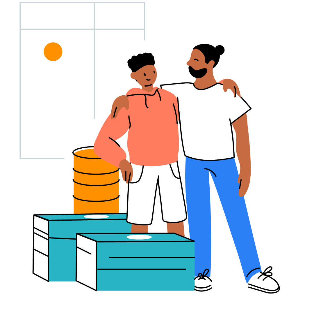 Illustration of father and son watching investment grow