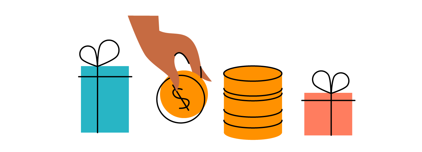 Illustration of hand placing coin in a row of gifts