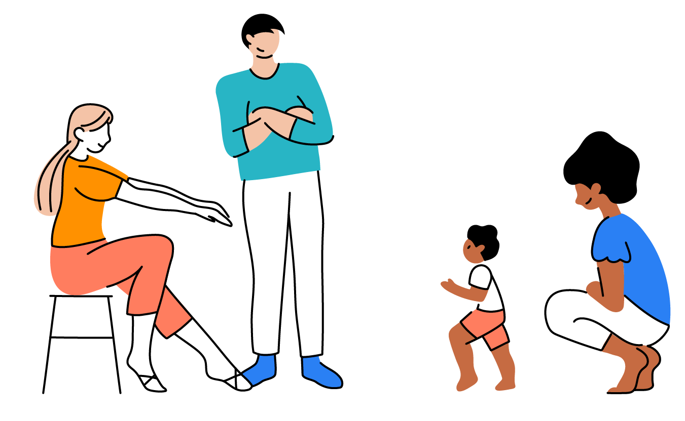 Illustration of baby walking from one adult to another
