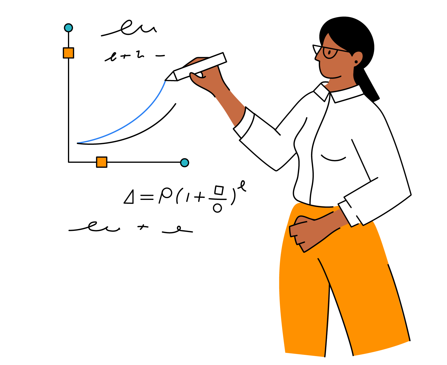 Illustration of woman recording increasing investment values