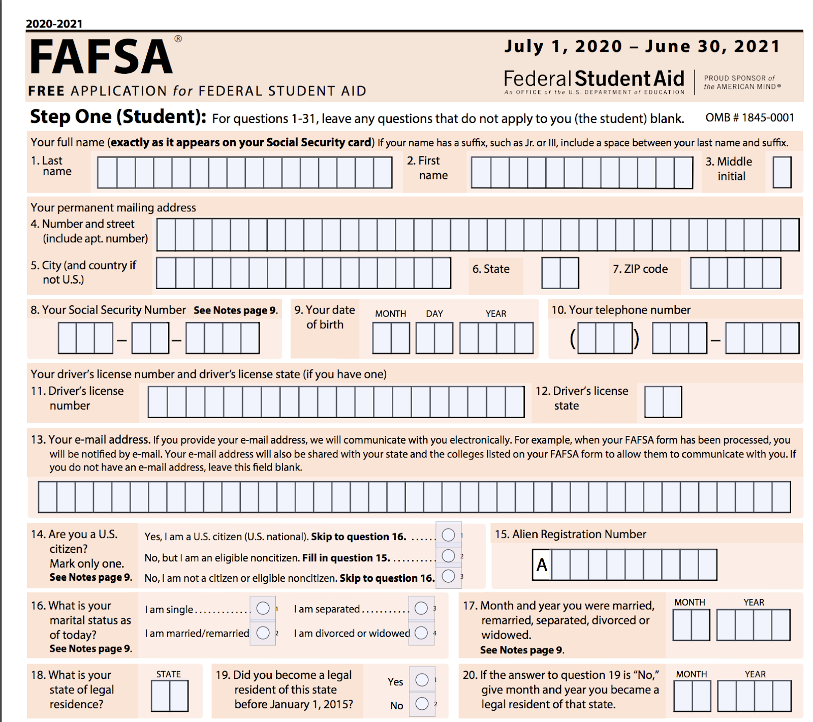 Screenshot of FAFSA form for 2020/21 academic year.
