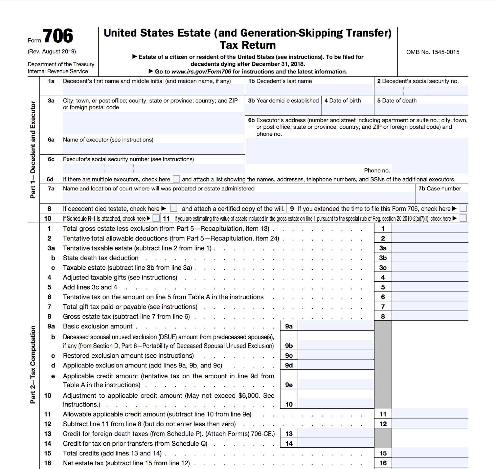Screenshot of IRS Form 706.