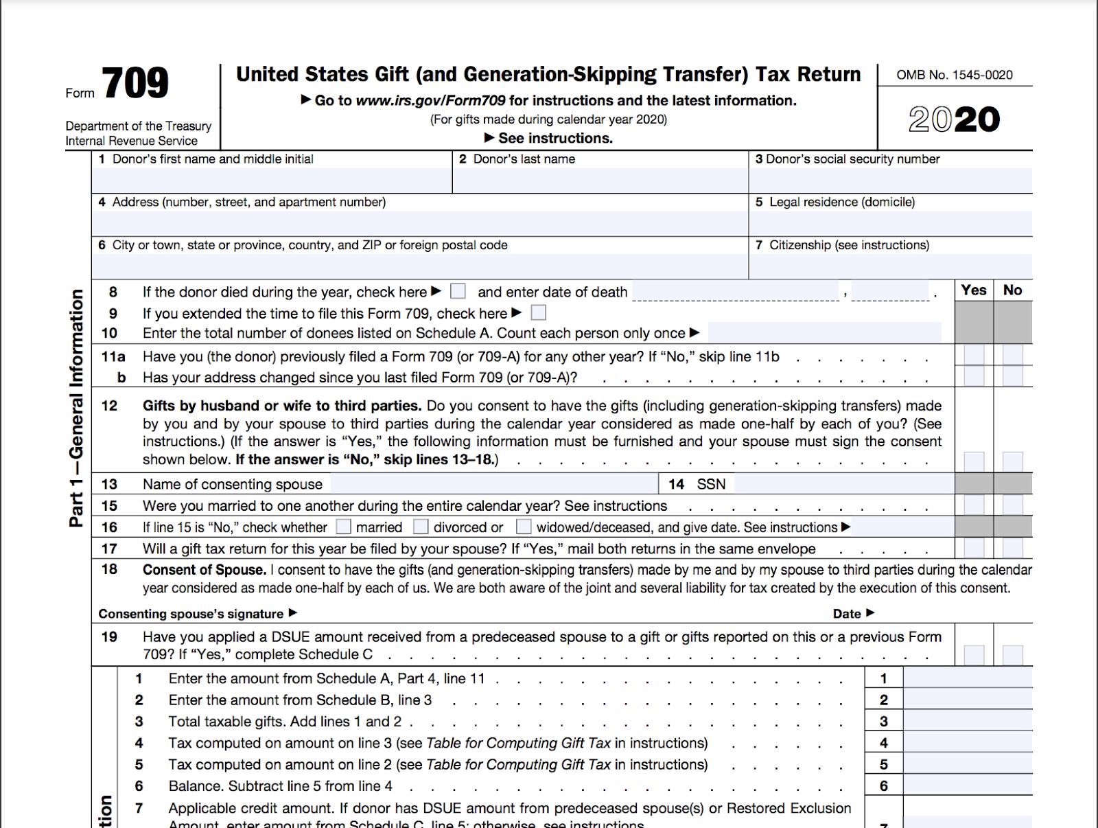 Screenshot of IRS Form 709.