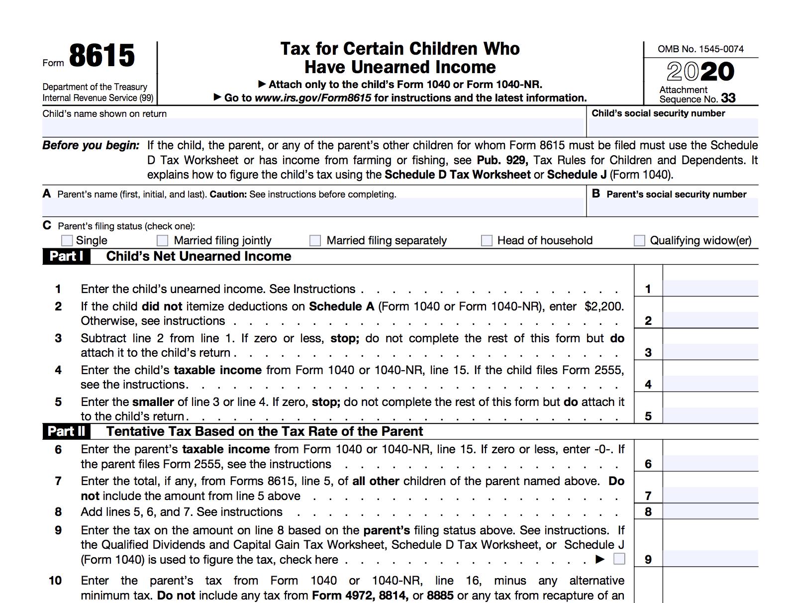 Screenshot of Form 8615
