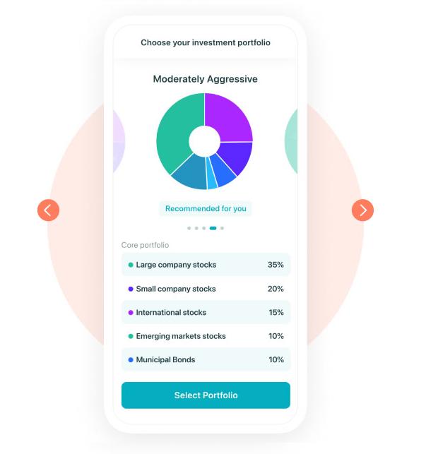 EarlyBird app screenshot of an example portfolio